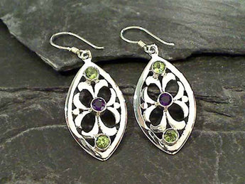 Amethyst, Peridot, Sterling Silver Earrings