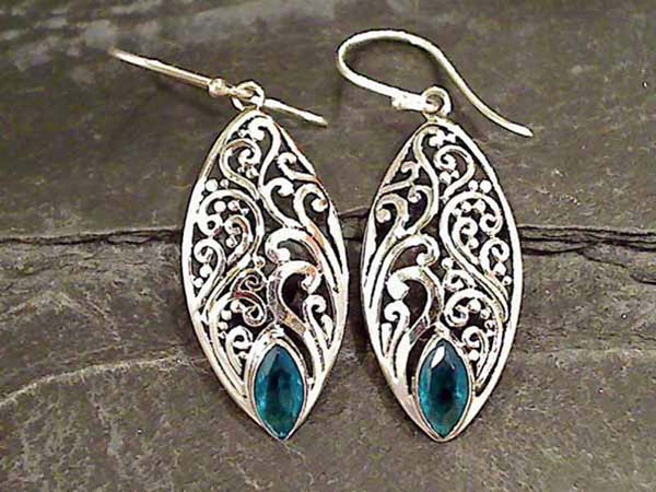 Blue Quartz, Sterling Silver Earrings