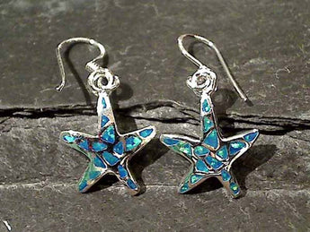Created Opal, Sterling Silver Starfish Earrings