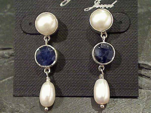 Sodalite, Pearl, Sterling Silver Earrings