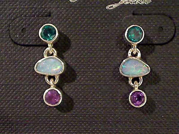 Opal, Amethyst, Green Quartz, Sterling Earrings