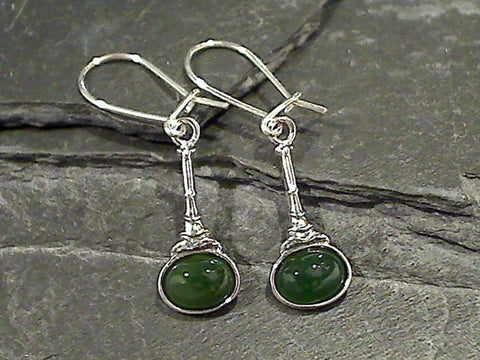 Jade, Sterling Silver Earrings