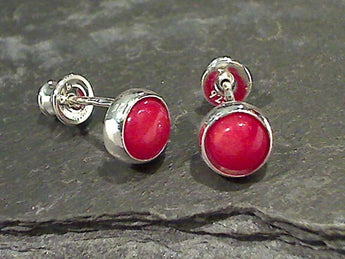 Coral, Sterling Silver 7.5MM Post Earrings