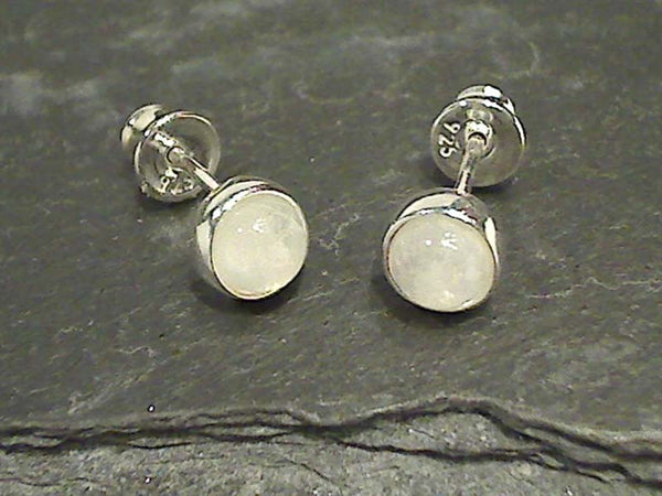 Moonstone, Sterling 6.5MM Post Earrings