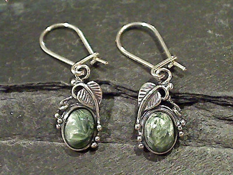 Seraphinite, Sterling Silver Earrings