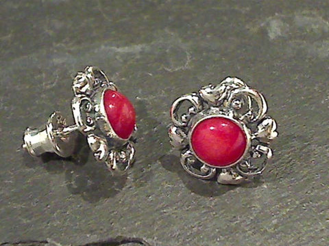 Coral, Sterling Silver Earrings