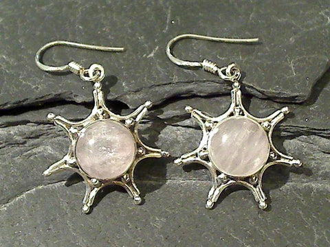 Rose Quartz, Sterling Silver Earrings