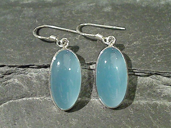 Chalcedony, Sterling Silver Earrings