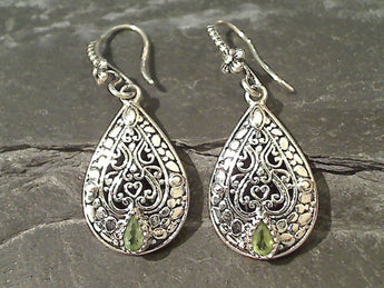 Peridot, Sterling Silver Earrings