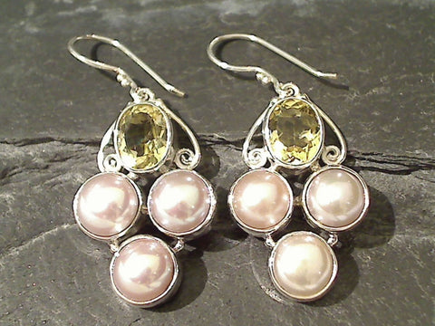 Citrine, Pearl, Sterling Silver Earrings