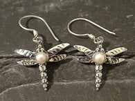 Pearl, Sterling Silver Dragonfly Earrings