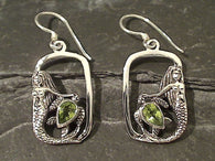 Peridot, Sterling Silver Mermaid Earrings