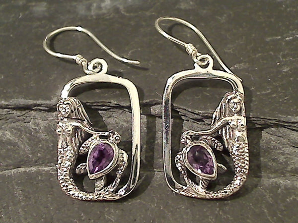 Amethyst, Sterling Silver Mermaid Earrings