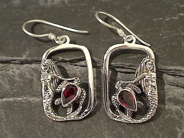 Garnet, Sterling Silver Mermaid Earrings