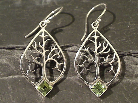 Peridot, Sterling Tree of Life Earrings