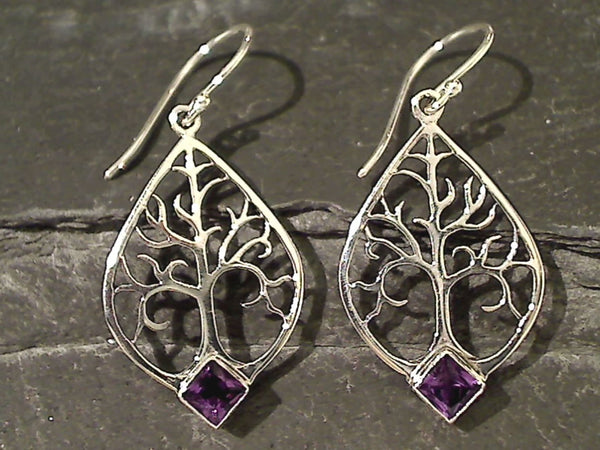 Amethyst, Sterling Tree of Life Earrings