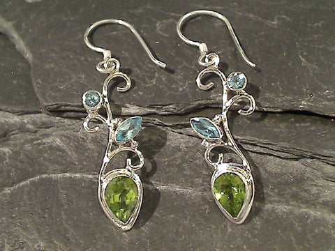 Blue Topaz, Peridot, Sterling Silver Earrings