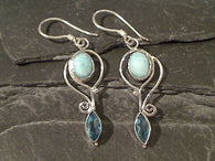 Blue Topaz, Larimar, Sterling Silver Earrings