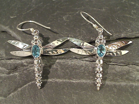 Blue Topaz, Sterling Large Dragonfly Earrings