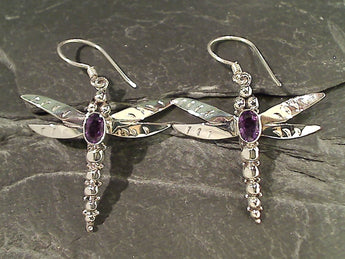 Amethyst, Sterling Large Dragonfly Earrings
