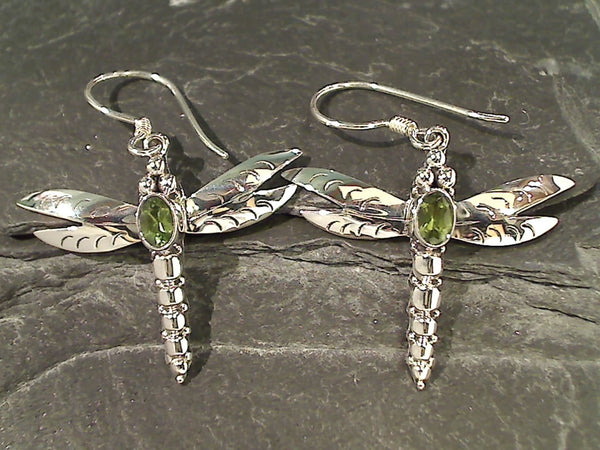 Peridot, Sterling Large Dragonfly Earrings