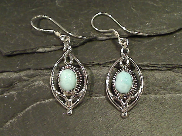Larimar, Sterling Silver Earrings