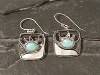 Larimar, M.O.Pearl, Sterling Silver Earrings