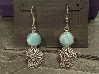 Larimar, Sterling Silver Shell Earrings