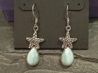 Larimar, Sterling Silver Starfish Earrings