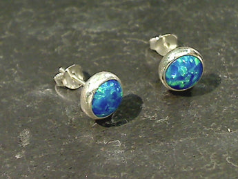Lab Created Opal 8mm Stud Earrings, Sterling