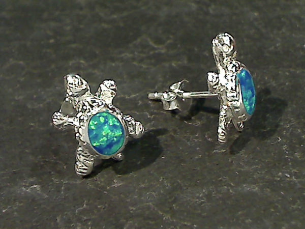 Created Opal Turtle Stud Earrings, Sterling