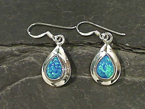 Created Opal, Sterling Silver Earrings