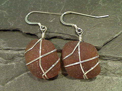 Sea Glass, Sterling Silver Earrings
