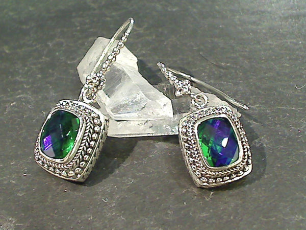 "Rainbow ""Peridot Color"" Quartz, Sterling Earrings"