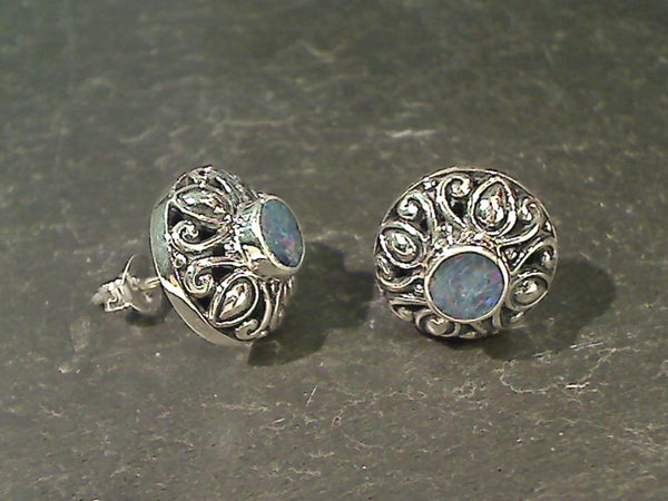Opal Dublets, Sterling Silver Earrings