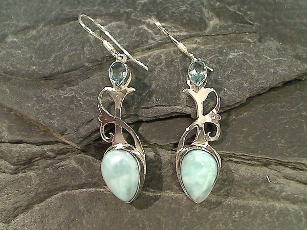 Larimar, Blue Topaz, Sterling Silver Earrings