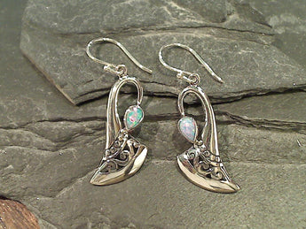 Lab Opal, Sterling Silver Earrings