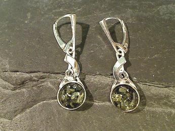 Green Amber, Sterling Silver Earrings