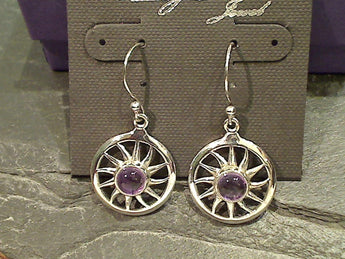 Amethyst, Sterling Silver Sun Earrings