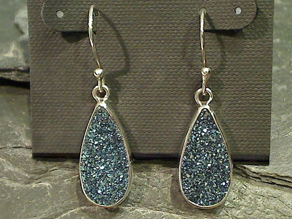 Druzy Quartz, Sterling Silver Earrings