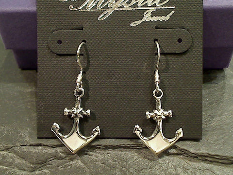 Mother of Pearl Anchor Earrings