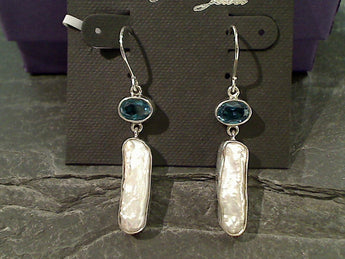Biwa Pearl, Blue Topaz, Sterling Silver Earrings