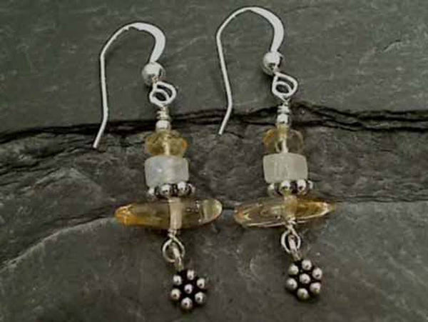 Citrine, Moonstone, Sterling Silver Earrings