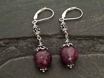 Lepidolite, Sterling Silver Earrings