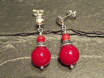 Red Coral, Sterling Silver Earrings