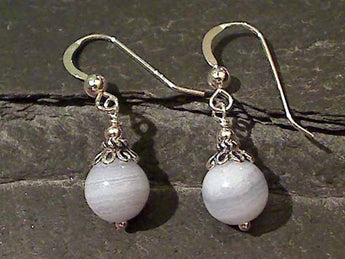 Blue Lace Agate, Sterling Silver Earrings