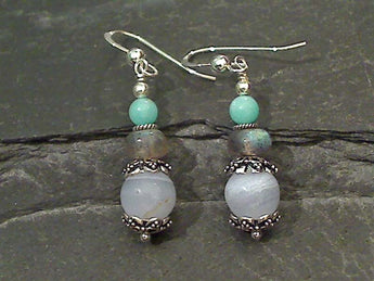 Agate, Labradorite, Amazonite Earrings