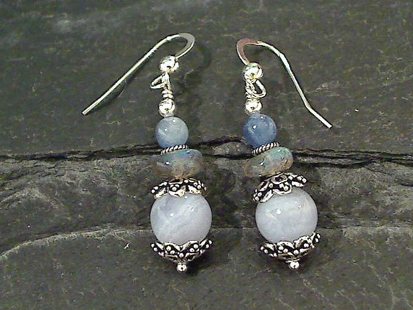 Agate, Labradorite, Kyanite Earrings