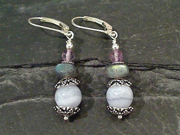 Agate, Labradorite, Amethyst Earrings