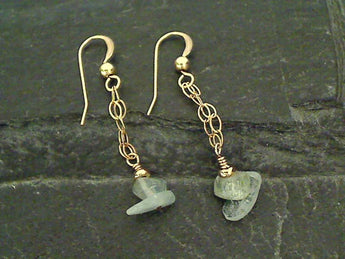 Aquamarine, Gold Filled Earrings